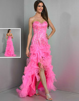 Reference Images Sweetheart Organza 2014 new design pink ruffles beaded hi lo Wow prom dresses lace up tiers charming sexy pageant evening gowns free shipping high quality