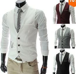 Wholesale New Korean Style Slim Fit V neck Decorative Chain Pocket waistcoat Spliced Casual Vests For Men