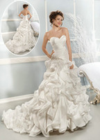 Wholesale 2014 New Sweetheart Ruffle Long Train Wedding Dresses Tiered Organza Exquisite Sweetheart Mermaid Cathedral Train Beads Crystal