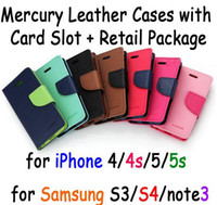 Cheap Lowest Price Mercury Leather Cell Phone Cases For iPhone 4 4s 5 5s Samsung S3 S4 with card slot with retail package