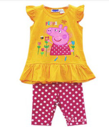 Wholesale Nova Summer New Yellow Peppa Pig Flowers Printed Sleeveless Dress Dots Red Legging Outfits Fashion George Pig Set Wear B2769