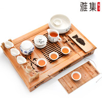 Cheap Freeshipping By China post air parcel Higher Quality Chinese kungfu tea set 18pcs set with Elegance Porcelain bamboo tea board