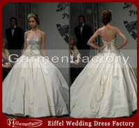 Wholesale PainaTornai Balll Gown Wedding Dresses Spring Sweetheart Neckline Corset Ivory Satin Bling Bling Bridal Dresses