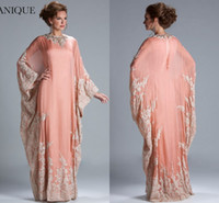 Reference Images Crew Neck Chiffon Peach Coral long sleeves jewel neckline kaftan dubai Dress Chiffon Lace Long Sleeves Lace fitted Muslim Mother of the Bride Dresses JQ3309