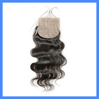 Cheap 5A Cheap brazilian body wave silk base closure 4*4 Bleached Knots Body Wave Swiss Hair can be dyed Freestyle