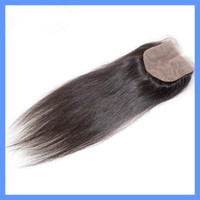 """Brazilian Hair Natural Color Straight 4*4"""" silk base closure brazilian hair silp top closure Bleached Knots Body Wave Swiss Hair can be dyed Free DHL"""