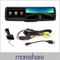 Cheap car dvr Free Shipping 4.3 inch LCD Rear view Mirror Monitor HD 720P DVR GPS Bluetooth with OEM replacing bracket arms