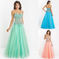 Wholesale New Arrival Sexy Mint Prom Dresses Sweetheart See Through Sweep Train Backless Applique Tulle Evening Gowns Pageant Dress Formal Dress
