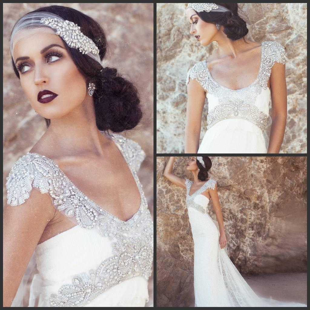 2014 vintage a line wedding dresses anna campbell scoop for Anna campbell vintage wedding dress