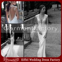 Wholesale Berta Winter Bridal Wedding Dresses Deep V Neck Sheer Back Covered Button Mermaid Court Train Ivory Lace Wedding Gowns