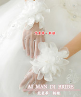 Wholesale DN White Top Quality Tulle Bridal Gloves Wrist Length Pretty Flower Hand Made Fashion Girls Party Gloves Wedding Bride Accessory