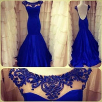 Wholesale Actual Images Backless Evening Dresses Royal Blue Mermaid High Neck Beading See Through Formal Dress Prom Pageant Dresses Gowns Custom