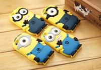 For Apple iPhone Silicone  3D Silicone Cute Minions Despicable Me2 Case Soft Cartoon Back Cover for iphone 5 5S 4 4S new