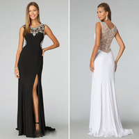 Wholesale New Black Elegant Evening Dresses High Neck Chiffon Crystal Fashion Prom Dress Gowns Backless Capped Formal Dress Pageant Dress Custom