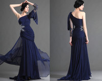 grace karin - Grace Karin New Dark Blue One Sleeve Pleated Formal Dresses Lace Beaded Evening Long Chiffon Party Dress Ball Gown DL132000786