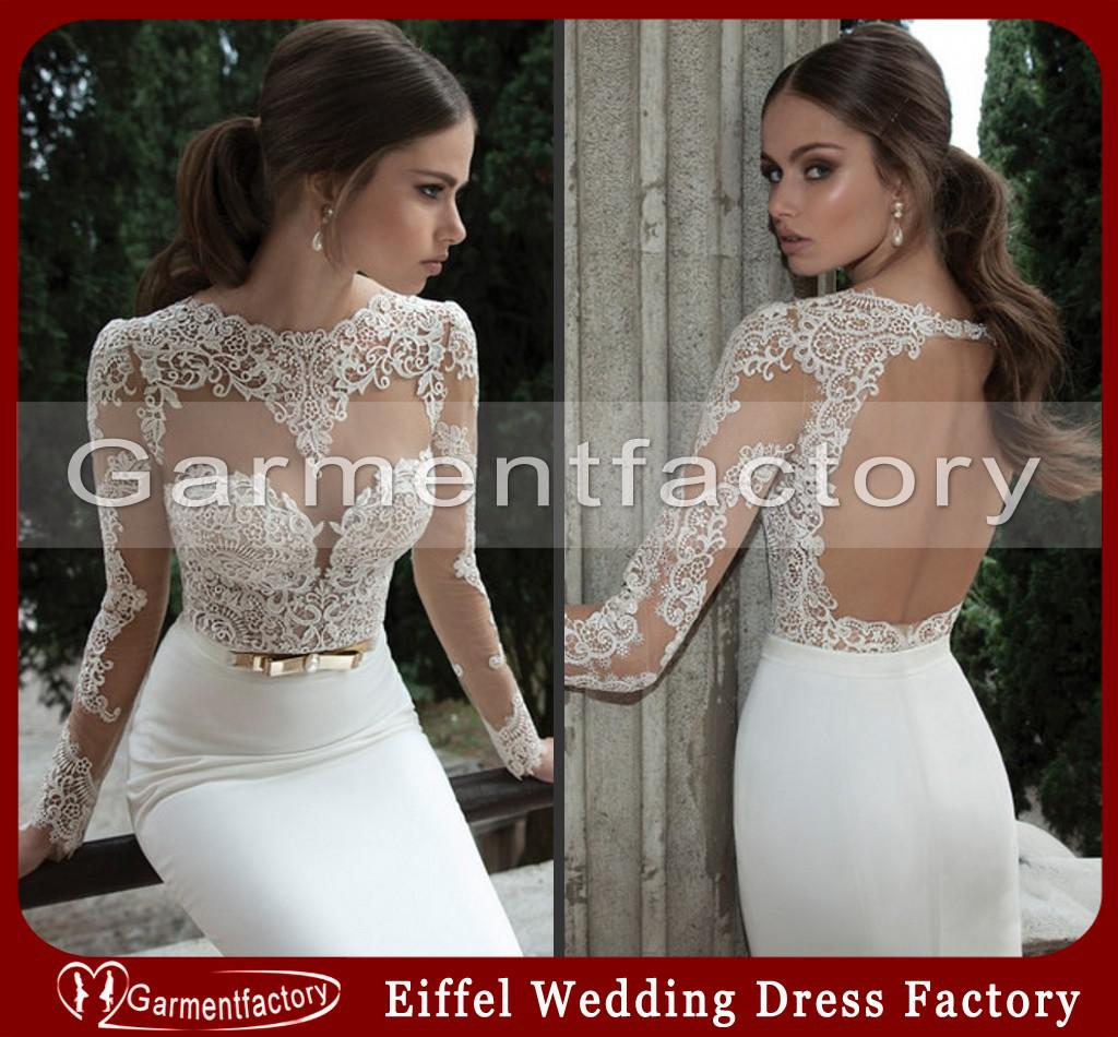 Cheap 2014 berta wedding dressed mermaid sheer lace top for Fitted lace wedding dress with open back