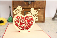 Wholesale Angel Love heart Handmade paper silhoue amp Creative D Pop UP Gift amp Greeting Happy Birthday Cards set of