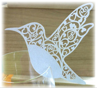 Wholesale Wedding Party Decoration Laser Cut Birds Place Card Escort Card Wedding Cake Toppers Wine Glass Card Paper Table Name Cards