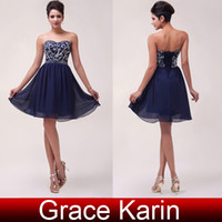 knee length cocktail dress - Vintage Style Strapless A line Knee Length Navy Blue Chiffon Cocktail Dresses Party Gown with Sequins Beading CL6049