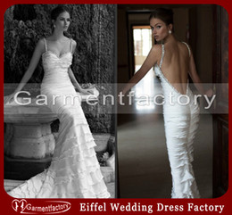 Wholesale Fitted Berta Wedding Dresses Sheath Spaghetti Strap Court Train Tiered Backless White Chiffon Sparkle Beaded Bridal Wedding Gowns