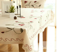 Wholesale Retails Country Style Flowers Embroidered Linen Tablecloths