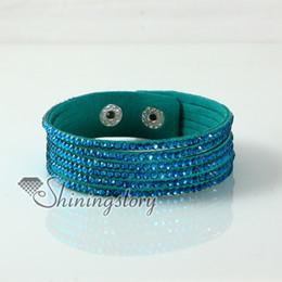 leather crystal rhinestone multi layer snap wrap slake bracelets Hand made bracelets fashion leather bracelet jewelry