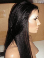 8 black Indian Hair Yaki straight Full lace wig &Front Lace wig Remy Brazilian Virign human hair Free shipping DHL