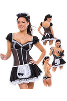 Wholesale Plus size women sexy late nite french maid costume Servant cosplay sexy women dress exotic apparel maid Dress LB2086