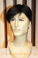 Wholesale 100 Real Natural human Hair Curly Short Full Wig Wigs Mid Adult Men Hairpiece RJ