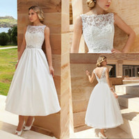 Reference Images cheap goods - 2015 vintage cheap cute wedding gowns bateau ankle length beaded sash lace appliques backless new lady good figure bridal dresses elegant