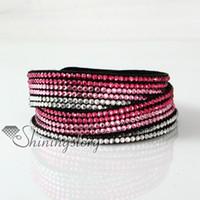 Cuir cristal rhinestone multicolore couleur arc-en-ciel snap wrap slake bracelets bijoux bracelet en cuir de mode