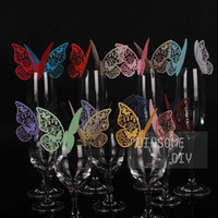 Wholesale Wedding Party Decoration Laser Cut Butterfly Place Card Escort Card Wedding Cake Toppers Wine Glass Card Paper Table Name Cards