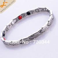 magnetic hematite - stainless steel magnetic hematite bangle Bracelet with magnetic hematite bead Anti Fatigue Energy Bracelet