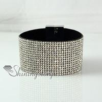 Bracelet en cuir rhinestone snap wrap bracelets slake bracelet en cuir de mode bijoux faits à la main bracelets