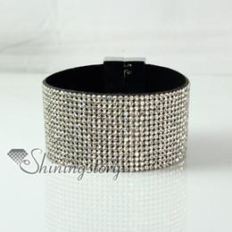 leather crystal rhinestone snap wrap slake bracelets fashion leather bracelet jewelry Hand made bracelets