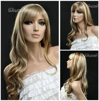 Cheap Free Shipping hot new for fashion Charming wigs Heat Resistant Synthetic Fiber Wigs Wave Curly Blonde Wig party Cosplay wigs