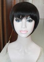 Wholesale 100 Indian Human Hair Short Bobo Wigs for Women Full wig Color RJ280