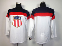 Cheap 2014 USA Olympic Jerseys Blank USA Jerseys White Hockey Jerseys Brand Sportswear Mens Jerseys with Embroidered Logo and Name Allow Mix Order