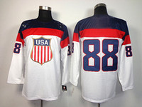 Cheap 2014 USA Olympic Jersey White Team USA 88 Kane Players Jerseys New Arrival Ice Hockey Jersey Good Quality Sportswear Long Sleeve Mens Jersey