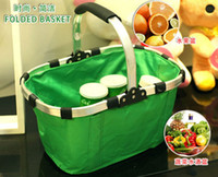 Wholesale 1pcs Brand New Bigger size Portable Folding Collapsible Vegetable Fruit Fast food Market Tote Basket Bag Camping Picnic