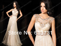 Wholesale 2014 Sexy New Champange Chiffon Ruffles Prom Dresses Jewel Neck Floor Length Sheer Lace Beaded Red Carpet Evening Dresses TBE11426