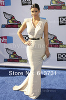 Cheap Kim Kardashian Sexy Evening Dresses V-Neck Cap Sleeve Zipper Back Ivory Chiffon With A Golden Belt Mermaid Prom Dresses SH10