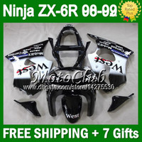 Wholesale 7gifts Custom Black WEST For KAWASAKI NINJA ZX6R ZX R ZX ZX R R Black white C Bodywork ZX636 Fairing