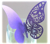 Wholesale Wine Glass Markers Wedding Cake Toppers name card laser Cut Butterfly Place Card Escort Card Wine Glass Cards Wedding Party Decorations