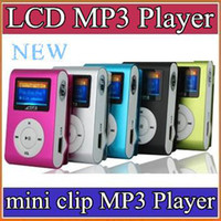 Wholesale DHL LCD mini clip MP3 MP4 Player earphone usb cable retail glass colors