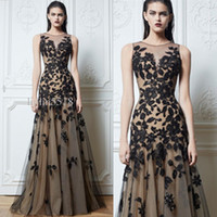 Cheap 2014 Sexy Zuhair Murad Crew Necking Prom Dresses Black Lace Tulle Nude color Tulle Floor-Length Evening Gowns Celebrity Dress Elegant