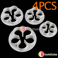 Wholesale 4PCS Flower Rose Cake Cookies Cutter Plunger Paste Fondant Sugarcraft Decorating