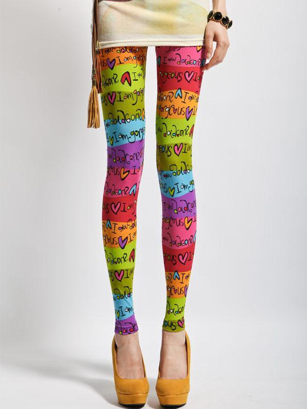 Sweet Multi Color Rainbow Lycra Spandex Fashion Leggings For Women