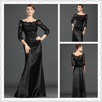 Wholesale 2014 Black Mother Of the Bride Dresses Floor Length Sleeve Evening Gowns Customer Made Woman s Gown with Lace and Beads For Wedding
