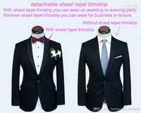 Wholesale Custom made men suit black wool mens wedding suit double collar mens tuxedos jacket pants tie pocket
